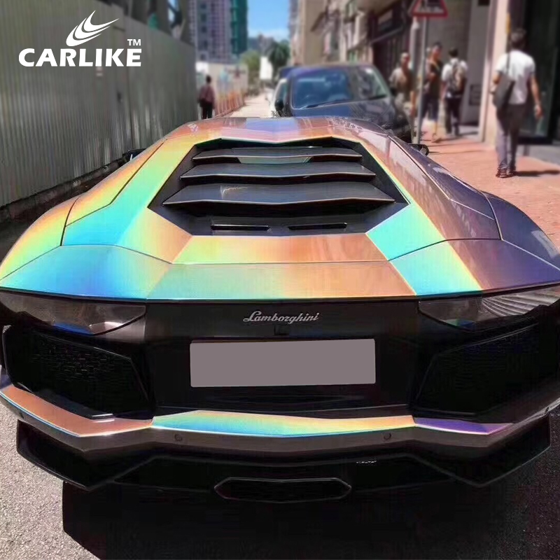 Carlike Rainbow Chrome Glitter Chameleon Dark Grey Color Change Wrap
