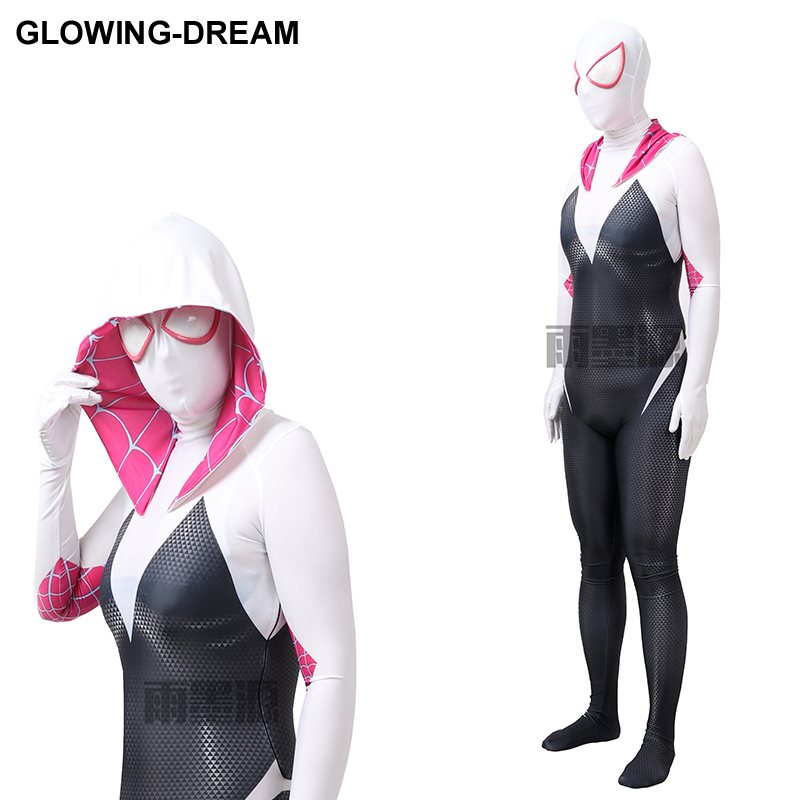 Glowing Dream High Quality Into the Spider-Verse Gwen Stacy Cosplay Costume Movie  Spider-Gwen Costume With Eyes U Zipper