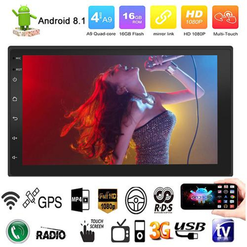 Android 8.1 Quad-Cores 7 Zoll 2 DIN Touch Screen HD Auto BT USB MP5 MP4 MP3 Player Radio FM GPS WIFI Lenkrad-steuerung