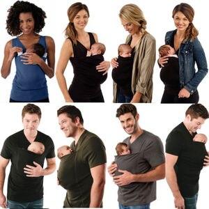 Moda mujer hombres camiseta Madre Padre canguro chaleco crianza niño Tops bebé camisetas