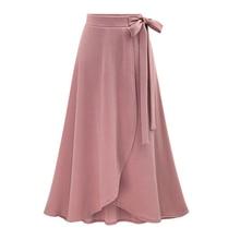 цены Plus size 6XL wrap maxi skirt Women tie up waist ruffles long skirts 2019 Summer casual chic pink black skirt saia longa falda