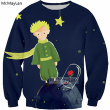 Le Petit Prince n Roses 3D Print Sweatshirts Men/Women Hipster Pullover Blue Hoodies Girls Gothic Streetwear Outwear Clothes 5XL