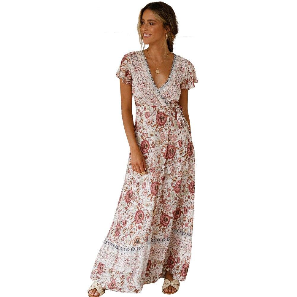 da392355f9458 2019 Sexy Print Summer Long Sundress Fashion Beach Skater Safari Floral  Maxi Dress Women Vintage Dresses For Female Clothes Boho