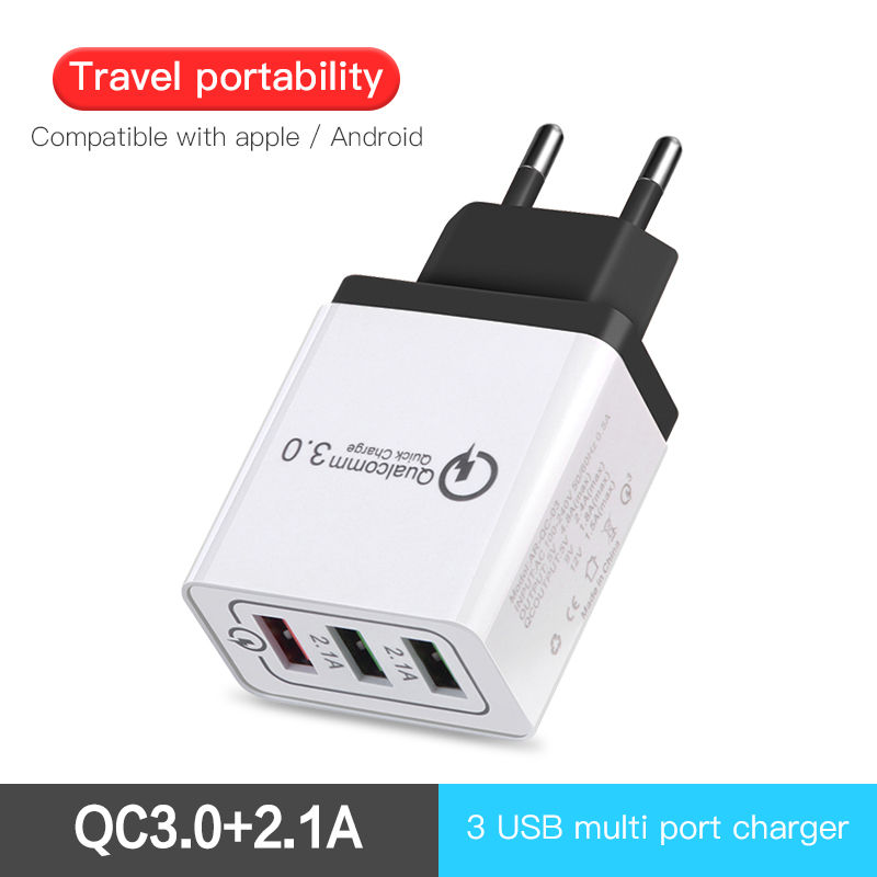 Travel Wall Quick Charger 3.0 Micro Usb Cable Fast phone Charger 3 Port 2.1A For Samsung Galaxy S9 S9 For iphone 7 Xiaomi Redmi