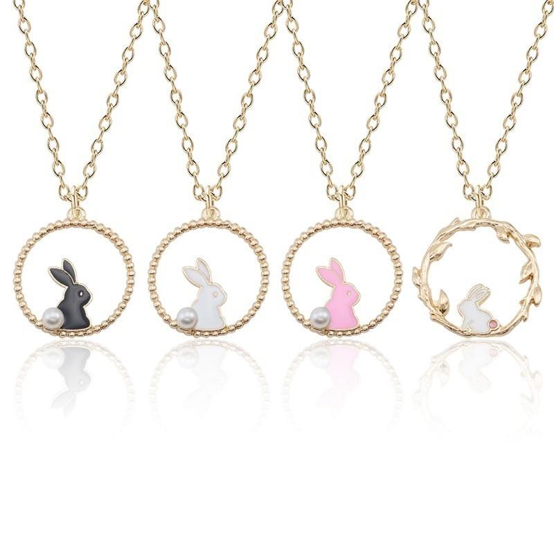 Женское Ожерелье с эмалью и кроликом, кулон в виде мультяшного кролика, Золотая цепочка, ювелирное изделие с животными, Прямая поставка