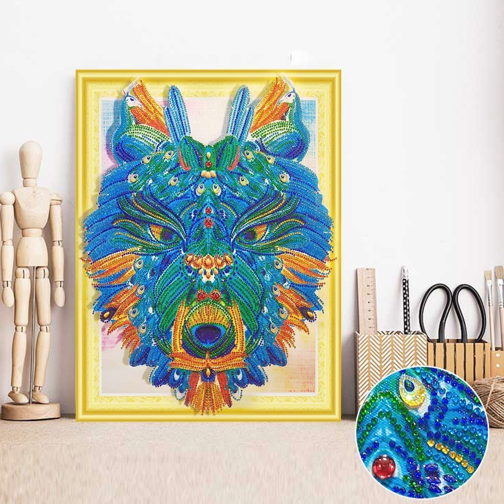 HUACAN 5D Diamond Painting Animal Round Drill Special Shape Diamond Embroidery Wolf Paint With Diamonds Handicraft Set 40x50cmHUACAN 5D Diamond Painting Animal Round Drill Special Shape Diamond Embroidery Wolf Paint With Diamonds Handicraft Set 40x50cm