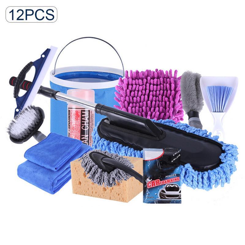 12 pièces voiture outils de nettoyage Kit voiture lavage outils Kit serviette vadrouilles dépoussiérage brosse voiture nettoyage fournitures