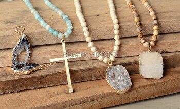black Dalmatian Agates Amazonite Beads Long Beads Necklace Cross Pendant Necklace