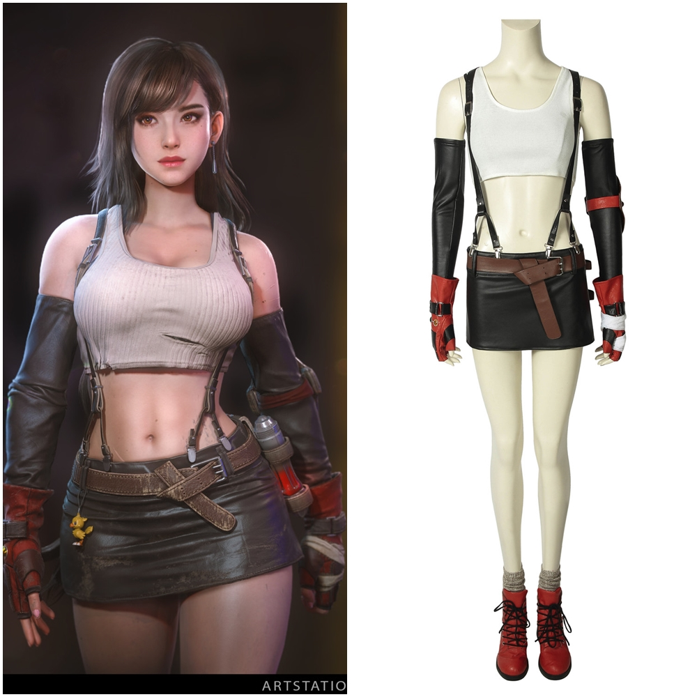 Final Fantasy VII Remake Tifa Lockhart Cosplay Costume Women Full Suit Outfit