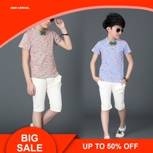 Summer Boys Clothes Cotton Clothing Sets Children Vest Fake Two Jacket Tops+ Shorts Kids Formal Suits