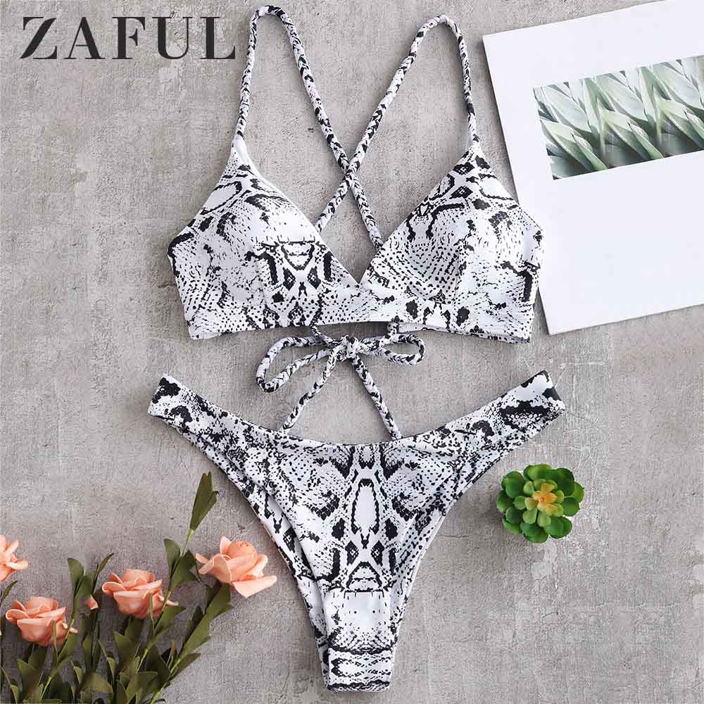 ZAFUL Snake Print Cross Lace-up Bikini Set Sexy Spaghetti Straps Swim Suit Elastic Low Waisted 2019 Padded Swimwear Bathing Suit