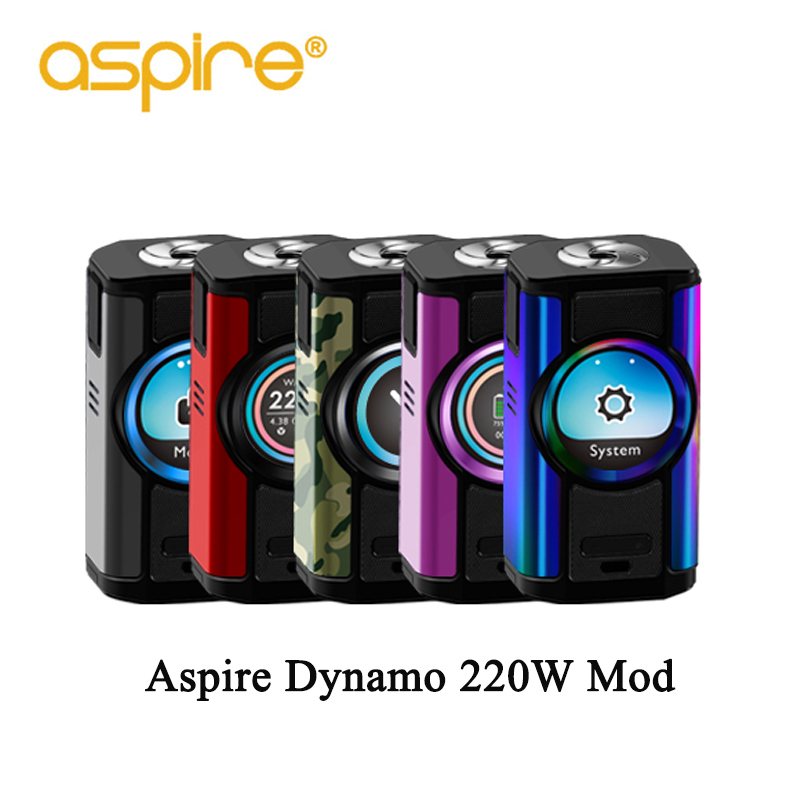 Cigarette électronique Aspire Dynamo 220 W Vape Mod fit 510 Support de fil VW VV contournement CPS TC TCR Modes 2 pouces TFT écran boîte mod