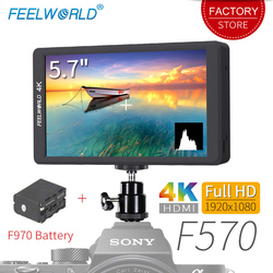 Feelworld F570 5.7 inch DSLR On Camera Video Field Monitor with Battery Small HD 4K HDMI IPS Full HD 1920x1080 External Display