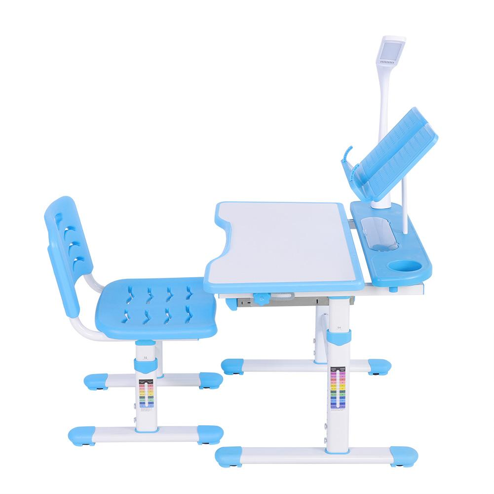 Adjustable Height Children s Desk and Comfortable Chair Set with Lamp 100 240V Kids Study Table