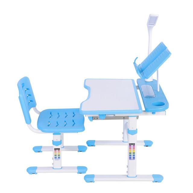 Bureau pour enfants à hauteur réglable et chaise confortable avec lampe 100 ~ 240 V Table détude pour enfants