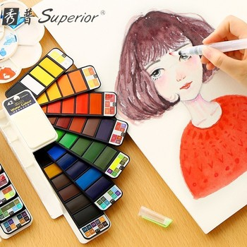 Superior 18/25/33/42 Colors Portable Solid Watercolor Paint Set With Water Brush Pen Watercolor Pigment For Draw Art Supplies 21 colors solid watercolor palette pigment powder paint set with water brush watercolor paper watercolor pen watercolors box set
