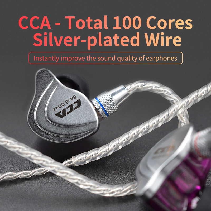 CCA Gümüş Kaplama Yükseltme Kablosu 3.5 Mm Ses Kablosu 4 Çekirdek 2 Pin Orijinal Kulaklık Kablosu Diy Cca C10 /c16/c04/KZ ZS3 ZS6 ZSA