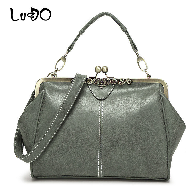LUCDO Handbags Small Clutch Women Messenger-Bags Crossbody Vintage Bolsa SAC Metal-Frame