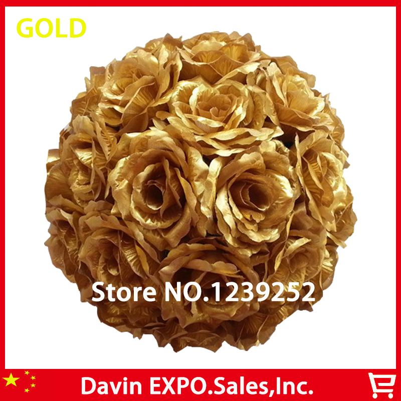 새로운 10Pcs / Lot 20cm 슈퍼 우아한 골드 실크 웨딩 파티 공을 키스 인공 꽃 공 로즈 DIY 신부의 꽃 장식