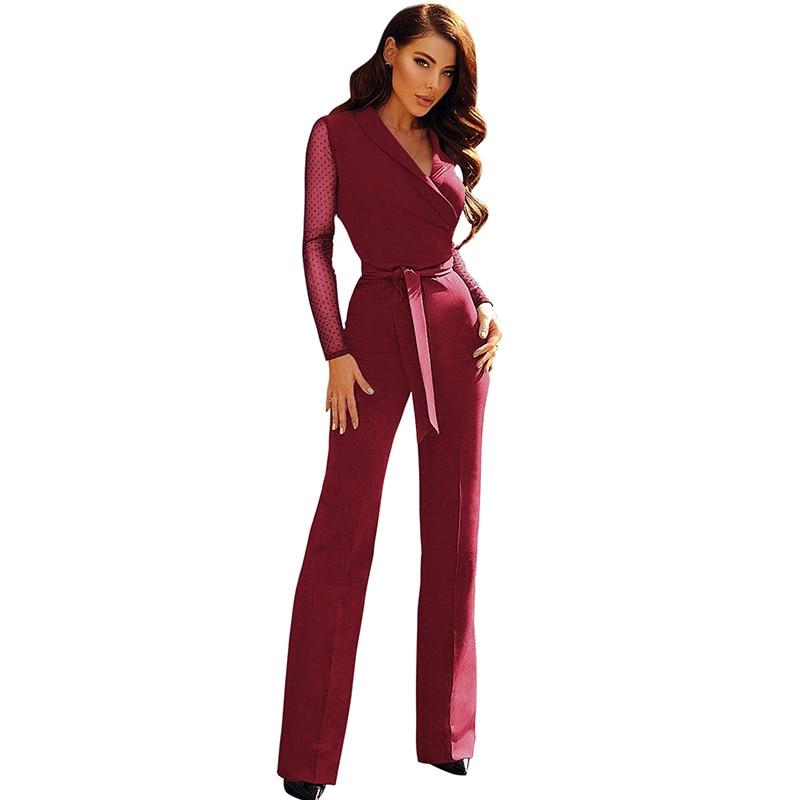 Women Long Sleeve   Jumpsuit   Sheer Mesh Dots Sleeve V Neckline High Waist Rompers Tied Bow Straight Legs Elegant Partywear 2018
