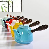 Chinese ceramic teapot side teapot making apparatus Kungfu filter Japanese single wood handle tea pot colorful kettle