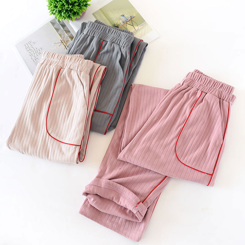 Autumn Cotton Sleeping Pants Female Fresh And Loose Knitted Cotton Lounge Pants Sleep Wear