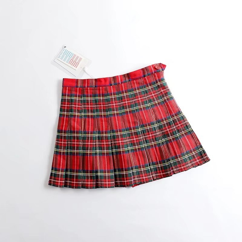 945c3ddb5 Mujeres Harajuku tartán Sexy Plaid faldas moda Mini Falda plisada Casual  botón lateral alta ...