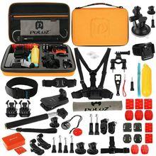 PULUZ 53 в 1 комплект аксессуаров (нагрудный ремень + поворотные ручки + J-Hook Пряжка + ремешок на запястье + ремень на шлем + монопод + поверхностные крепления + штатив Adap