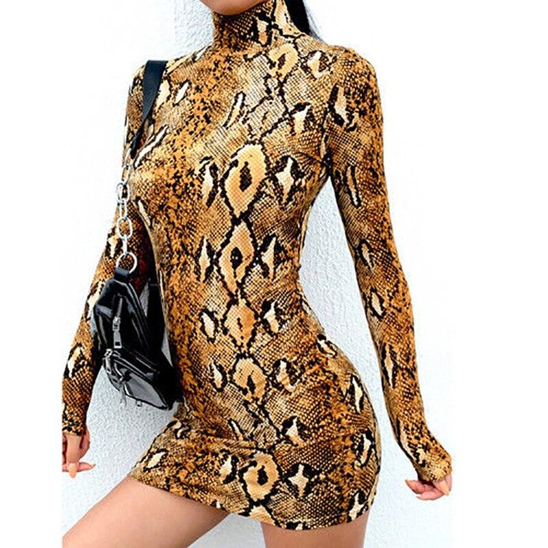 Valet stand high tan snake dress bodycon print neck