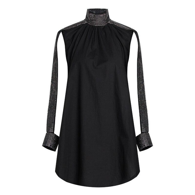 2019 nouveau printemps été col montant à manches longues blanc strass lâche grande taille chemise femmes Blouse mode marée W268 - 3