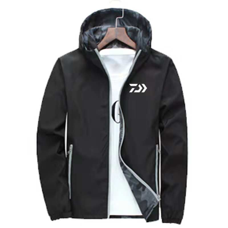 Daiwa Fishing Clothing Spring Autumn Outdoors Fishing Jacket with Hat Waterproof Two sided Wearing Clothes Sport