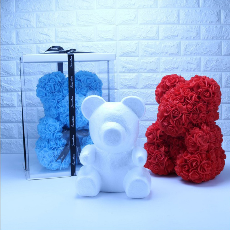 Melsnajsd 1Pcs Modelling Polystyrene Styrofoam White Foam Bear Mold Teddy For Valentines Day Gifts Birthday Party Wedding