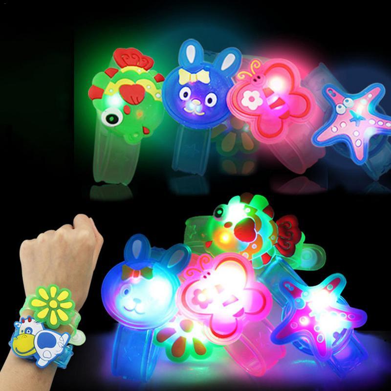 Kids Cartoon LED Glowing Flash Bracelet Children's Gift Flash Wrist Strap Baby Illuminate Props Children's Night Party Toys