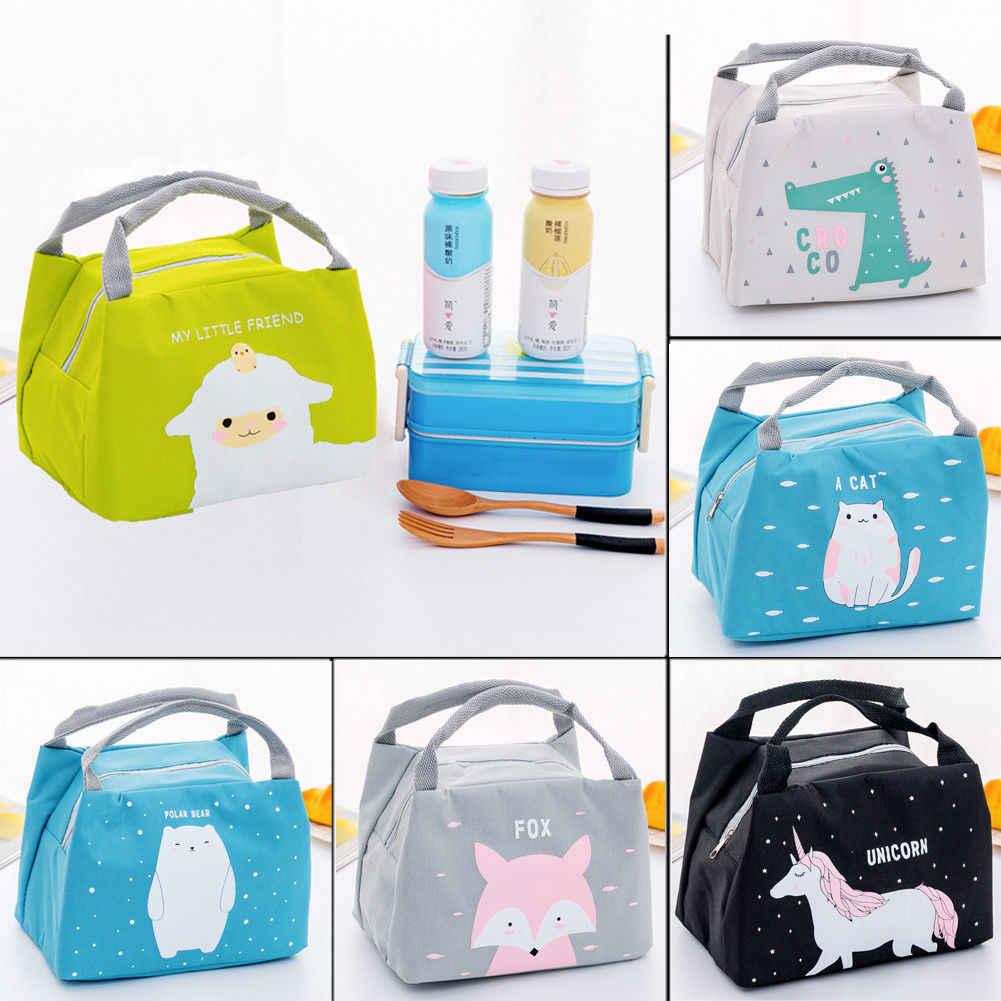2019 caliente las mujeres las niñas portátil aislado bolsas de almuerzo bolsas animales lindo Picnic lona bolsas de comida Tote