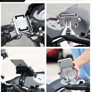 Image 5 - אוניברסלי אופנועים אופני סקוטר טרקטורונים 19 30MM כידון Rearview מראה טלפון נייד מחזיק הר Bracket USB מטען