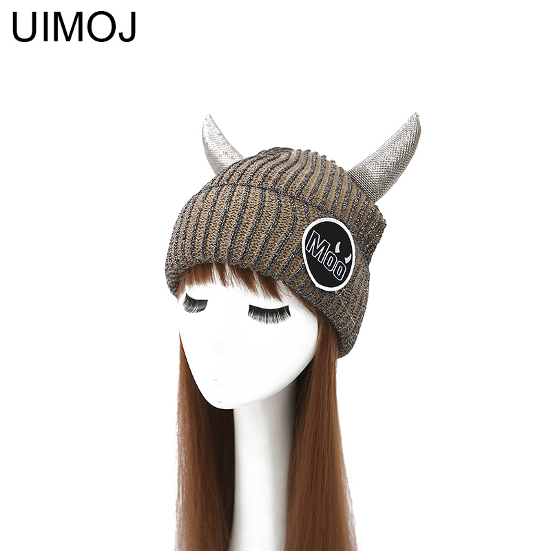 UIMOJ Cow Horn Warm Winter Hats For Women Men Casual Knitted Cap Cute Moo   Skullies     Beanies