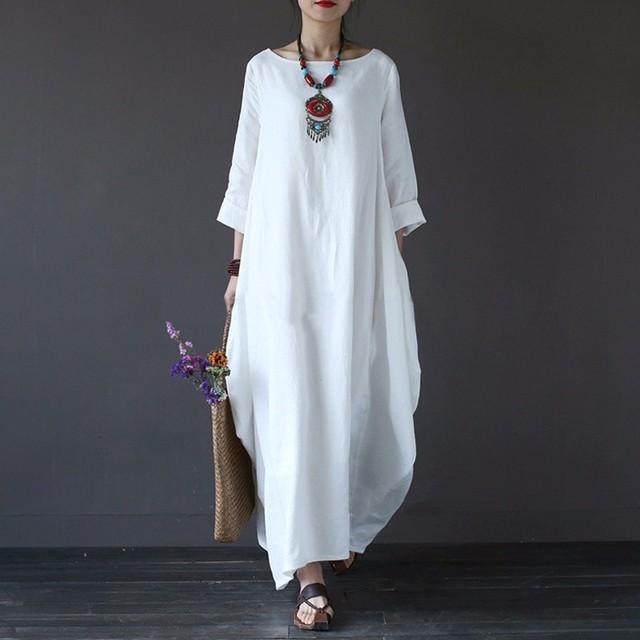 2020 Summer autumn Plus Size Dresses Women 4xl 5xl Loose long vintage Dress Boho Shirt Dress Maxi Robe fashion Female Q293 3