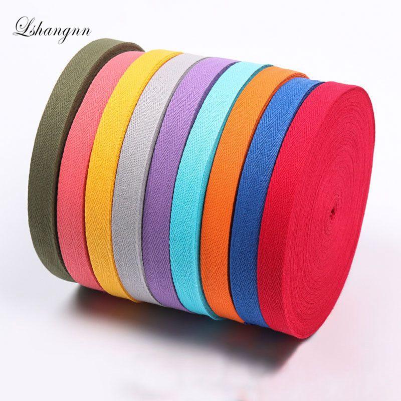 Lshangnn 2cm 45yards 100% Cotton Belt Herringbone Tape Package Ribbon 26 Colours For Handmade Diy Cloth Accessories