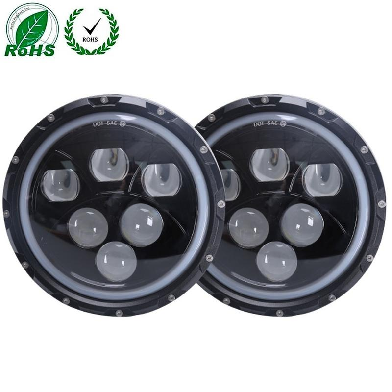 1pair 7 60w Motorcycle Headlight For Jeep Wrangler With Angel Eyes For Harley Motorcycle Modified 6000k Led Headlight