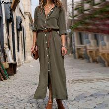 Xnxee Autumn Winter Button Side Split Long Dress 2019 Women Solid Casual Loose Dress Ladies Long Sleeve Midi Dresses Vestidos button up split side shirt dress