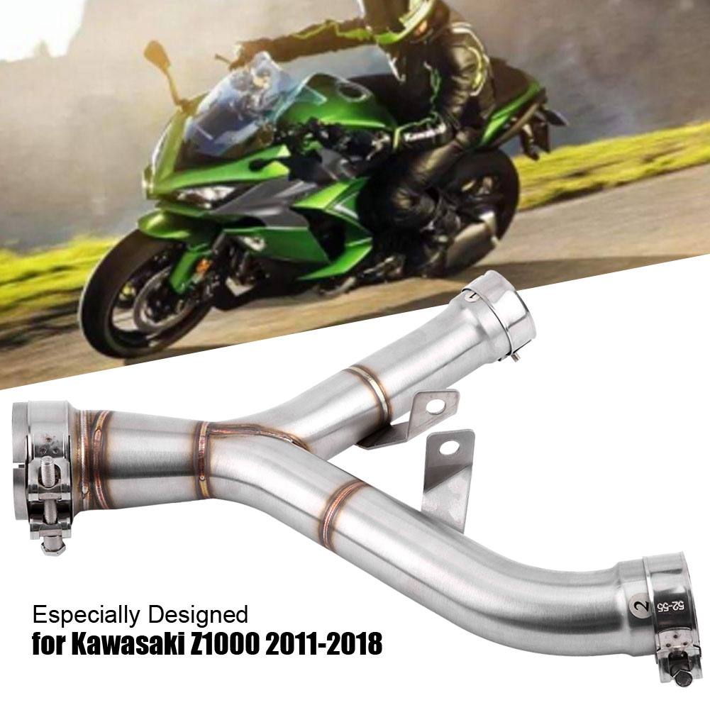 Motorcycle Exhaust Mid-Pipe Middle Pipe Link Connect Adapter Stainless Steel Universal for Kawasaki Z1000 2011-2018 Silver NEWMotorcycle Exhaust Mid-Pipe Middle Pipe Link Connect Adapter Stainless Steel Universal for Kawasaki Z1000 2011-2018 Silver NEW