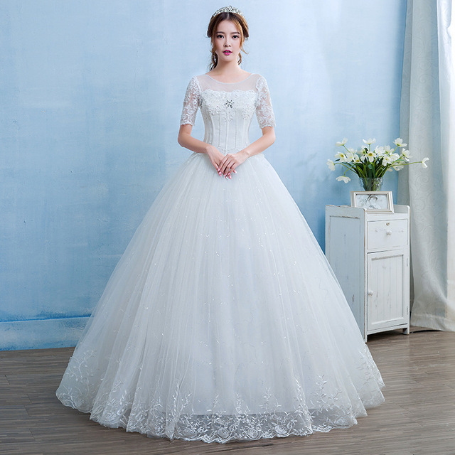 Gorgeous Wedding Dresses Crystal Lace Appliques Tulle O Neck Lace Up Ball Gown Formal Dresses For Wedding 2020 Vestido De Noiva