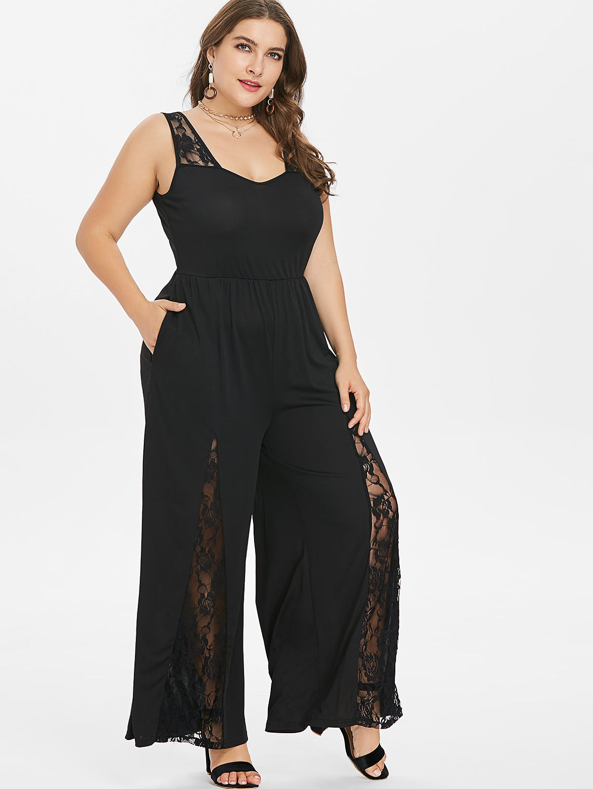 Wipalo Women Plus Size 5XL Lace Panel Wide Leg Jumpsuit Casual Solid Plunging Neck Sleeveless Floor Length Jumpsuit Big Size Set(China)