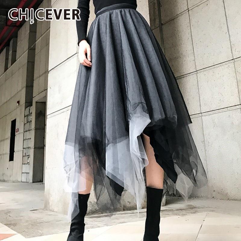 CHICEVER Autumn Winter Women's Mesh Skirts Female Elastic High Waist Hem Irregular Multi-layer Skirt For Women Fashion Tide