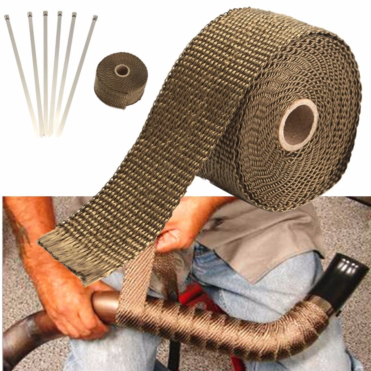 1PC 5.08cm X 1.59 Mm X 5m Titanium Exhaust/Header Heat Wrap Downpipe Insulation Bandage Tape Roll With Stainless Ties Kit