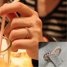New Cross Hollowing Crystal Rings For Women Rose Gold Ring For Women Fashion Finger Rings Vintage Silver Plated Ring Accessories(China)