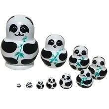 10pcs/ set Panda With Bamboo Nesting Dolls Matryoshka Russian Doll Popular Handmade Kids Girl Gifts Christmas Toys Craft YJS Dro