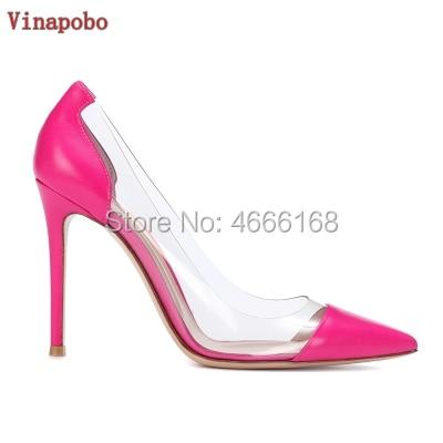 VINAPOBO 10 12 cm bout pointu robe chaussures Transparent clair PVC talons aiguilles pompe sans lacet chaussures femme à talons hauts chaussures de mariage