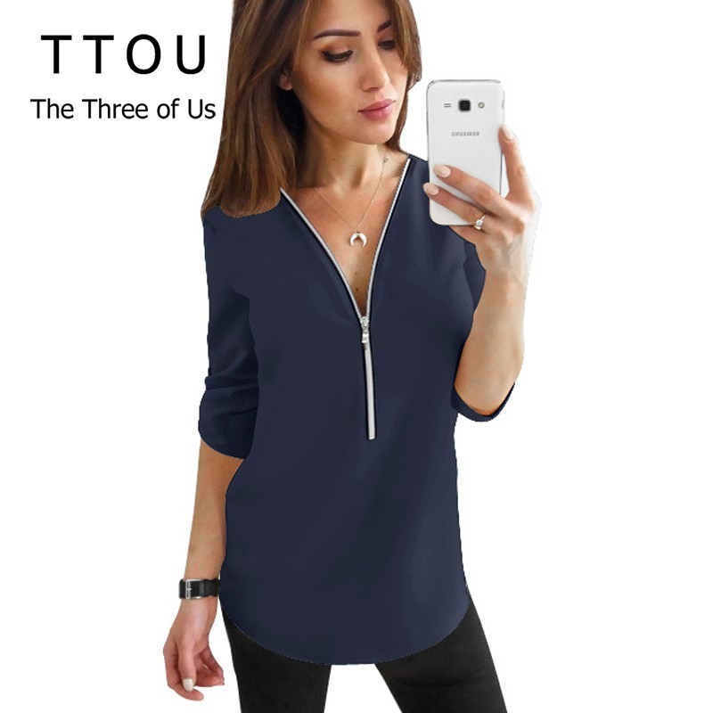TTOU Women Zipper Short Sleeve   Shirts   Female Sexy V Neck Solid Tops And   Blouses   Casual   Shirts   Tops Female Clothes Plus Size 5XL