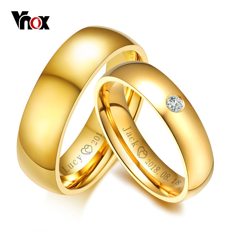 Vnox Classic Wedding Rings for Women Men Gold Color Stainless Steel Couple Band Anniversary Personalized Name Lovers Gift